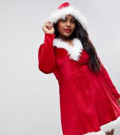 Новогоднее платье с отделкой искусственным мехом Club L Рlus - Красный