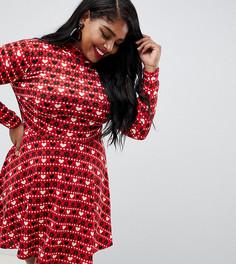 Новогоднее короткое приталенное платье с узором Фэйр-Айл в технике интарсия Club L Plus - Красный