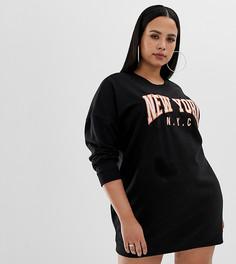 Черное платье-футболка с надписью New York Missguided Plus - Черный