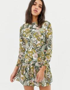 Платье с длинными рукавами, принтом и баской Love - Зеленый