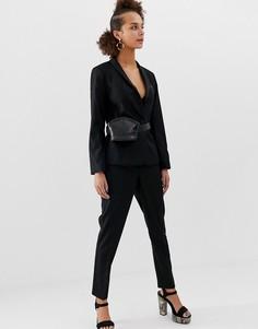 Черные атласные брюки New Look - Черный