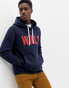 Темно-синий свитшот с капюшоном и большим логотипом Jack Wills - Темно-синий