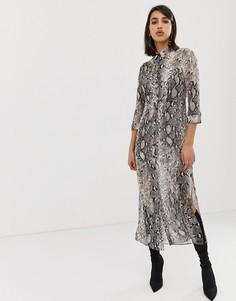 Длинное платье-рубашка со змеиным принтом River Island - Мульти