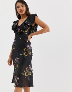 Платье миди с оборкой и цветочным принтом Talulah Lullaby - Черный