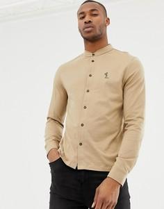 Приталенная трикотажная рубашка с воротником-стойкой Religion - Коричневый