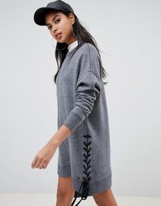 Платье-свитшот со шнуровкой и логотипом DKNY - Серый
