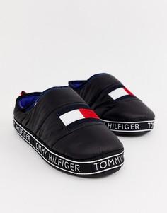 Черные стеганые слиперы с фирменной нашивкой-флагом Tommy Hilfiger - Черный