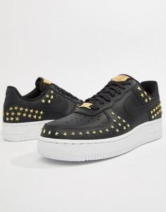 Черные кроссовки с заклепками Nike Air Force 1 - Черный