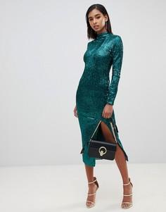 Платье миди с пайетками и открытой спиной Club L - Зеленый