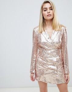 Платье-блейзер с блестками Club L - Розовый