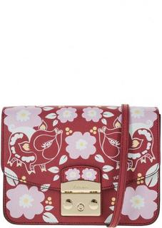 Красная кожаная сумка с цветочным принтом Metropolis Furla