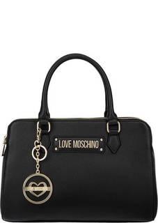 Кожаная сумка с отделениями по бокам Love Moschino