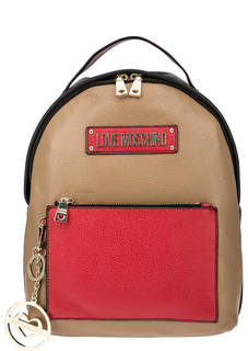 Кожаный рюкзак с широкими лямками Love Moschino