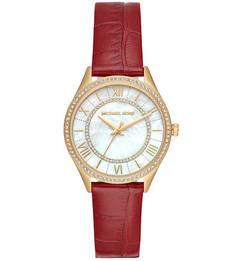 Кварцевые часы с кожаным ремешком с выделкой под рептилию Michael Kors