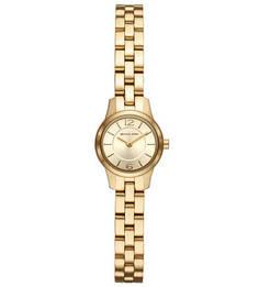 Кварцевые часы круглой формы с золотистым браслетом Michael Kors