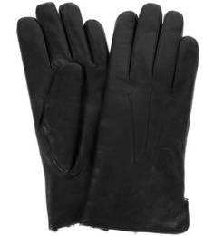 Черные кожаные перчатки с меховой подкладкой Bartoc