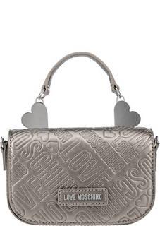 Серебристая сумка с монограммой бренда Love Moschino