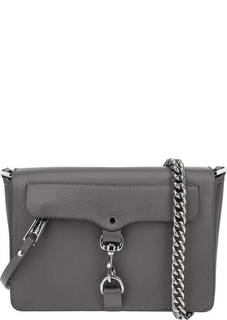 Маленькая кожаная сумка серого цвета Rebecca Minkoff