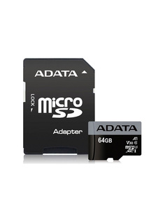 Карта памяти 64Gb - A-Data MicroSDXC UHS-I U3 V30S AUSDX64GUI3V30SA1-RA1 с переходником под SD