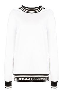 Белый свитшот с контрастной отделкой Dolce & Gabbana