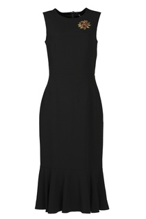 Черное платье с аппликацией Dolce & Gabbana