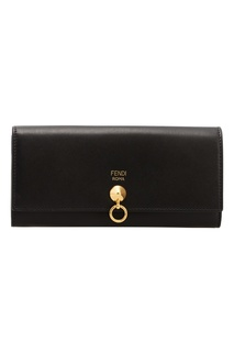 Черный кошелек с золотистой деталью Fendi