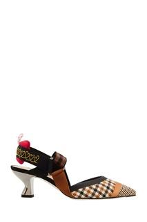 Туфли с отделкой в клетку Fendi