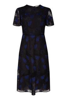 Черное ажурное платье Fendi