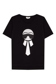 Черная хлопковая футболка Fendi
