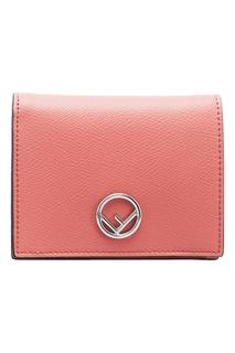 Розовый кожаный кошелек Fendi
