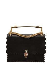 Черная кожаная сумка с отделкой Fendi