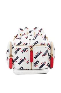 Белый рюкзак с контрастным принтом Fendi