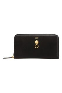 Черный кожаный кошелек с декором Fendi