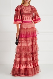 Платье с воланами и вышивкой Valentino