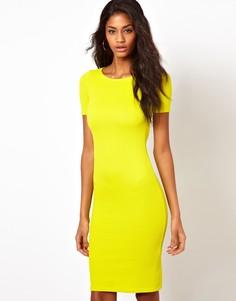 Текстурированное платье миди Oh my Love - Желтый
