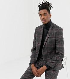 Темно-серый приталенный пиджак с добавлением шерсти Heart & Dagger - Серый