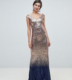 e67ef7f7bba Платье макси с отделкой пайетками и эффектом омбре City Goddess Tall -  Золотой