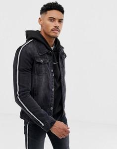 Черная джинсовая куртка с полосами с эффектом металлик Liquor N Poker - Черный