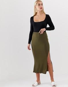Зеленая юбка миди в рубчик с отделкой по краю Vero Moda - Зеленый