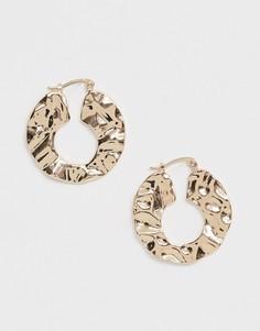 Золотистые серьги-кольца с кованым дизайном ASOS DESIGN - Золотой