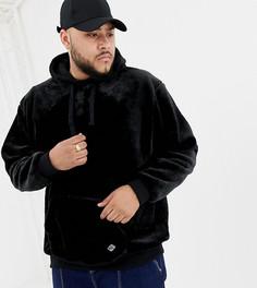 Худи из мягкого искусственного меха с карманом-кенгуру Soul Star Plus - Черный