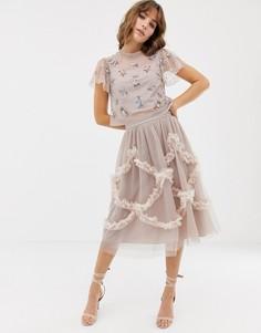 Розовая юбка миди из тюля с рюшами Needle & Thread - Синий