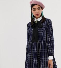 Платье-рубашка мини в клетку с завязкой Sister Jane - Темно-синий