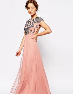 Платье макси с отделкой и открытой спиной Maya Petite - Розовый