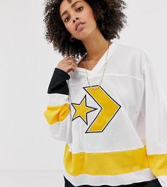 Белый трикотажный oversize-лонгслив в хоккейном стиле Converse - Белый