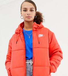 Красная дутая куртка с капюшоном Nike - Красный