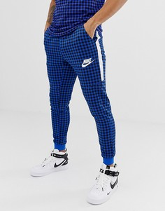 Синие джоггеры в клетку Nike BQ0676-480 - Синий