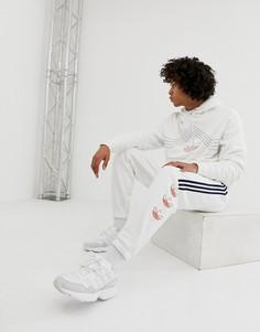 Белые джоггеры в полоску с логотипом-трилистником adidas Originals DV3148 - Белый