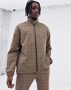 Куртка в клетку на молнии Mennace - Светло-бежевый