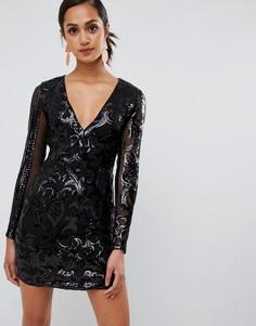 Сетчатое платье с пайетками и длинным рукавом Parisian - Черный